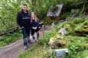 Dave Brown at his fairy village near Dufftown with his 14-year-old daughter. Picture by Jim Irvine