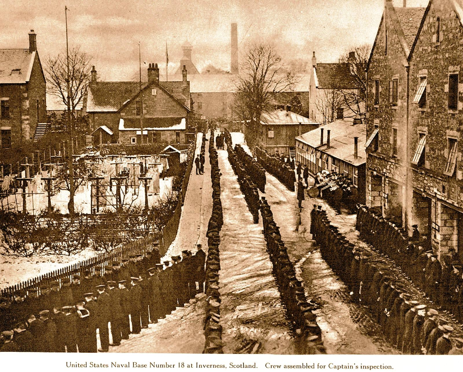 US Naval Base at Glen Albyn Distillery in 1918.  Picture courtesy of Inverness Local History Forum