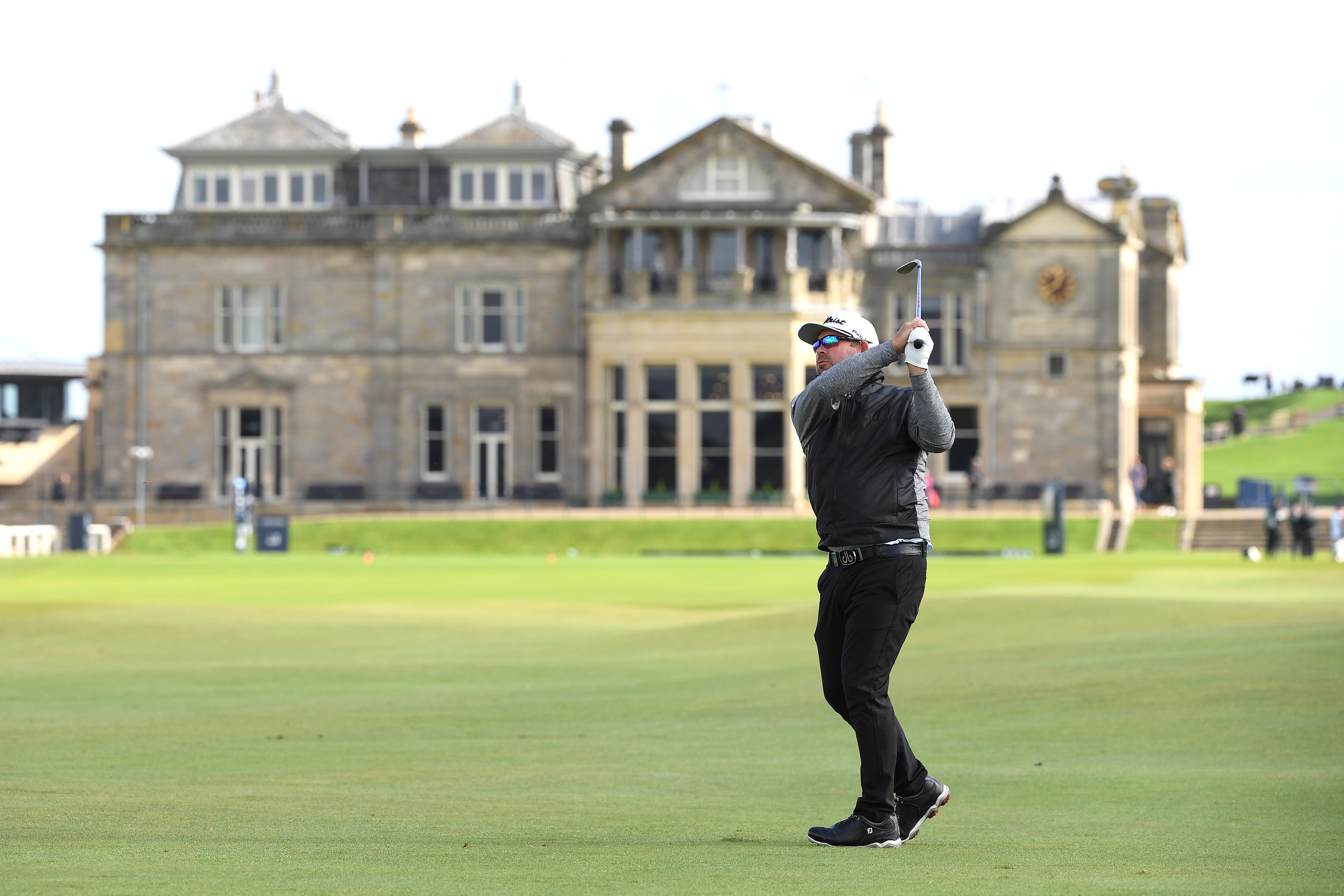 Justin Walters of South Africa plays his second shot on the first hole during day one of the Alfred Dunhill Links Championship at The Old Course. (Photo by Ross Kinnaird/Getty Images)
