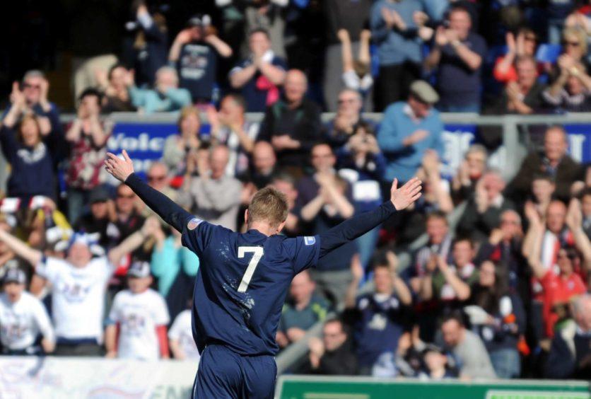 Ross County's Michael Gardyne celebrates scoring in 2012.