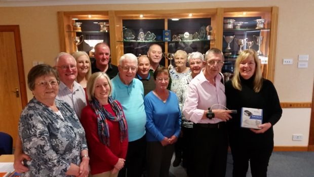 Jim Simpson, chairman of the Grampian Pulmonary Fibrosis Support Group, and Margaret MacLeod, from NHS Grampian's Home Oxygen team, right, with members of the support group.