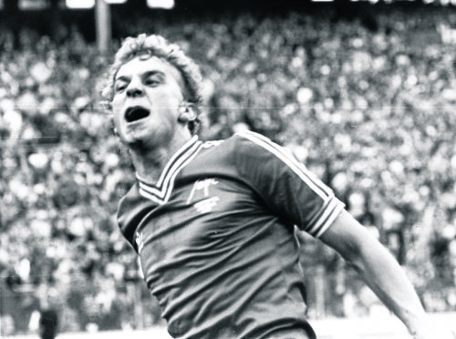 Neale Cooper after scoring for Aberdeen against Rangers in 1982.