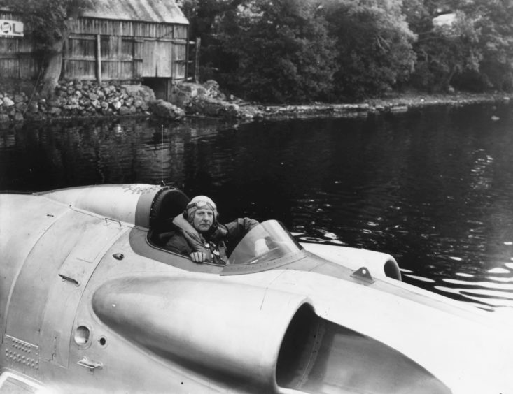 John Cobb, pictured in his jet-boat Crusader, prior to his tragic death in 1952