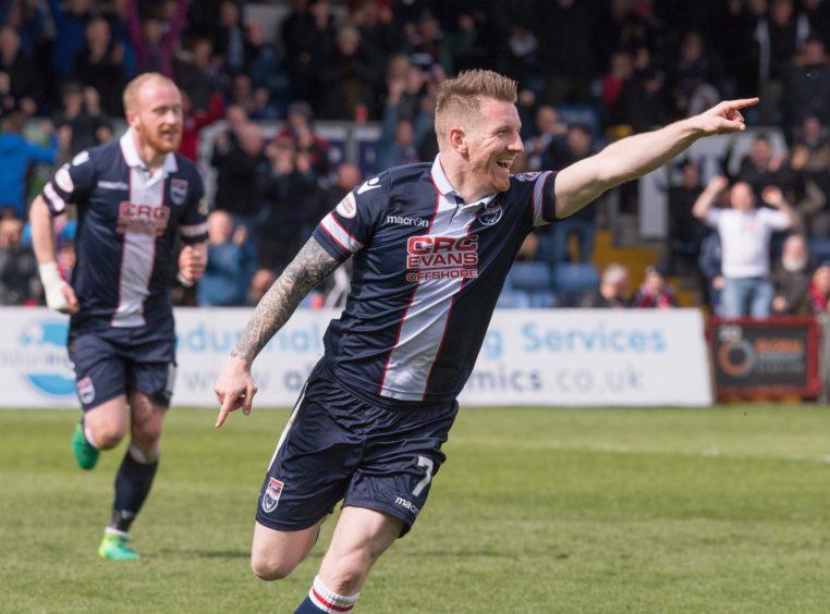 Michael Gardyne (Ross County) celebrates - Ross County v Celtic - Ladbrokes Premiership
