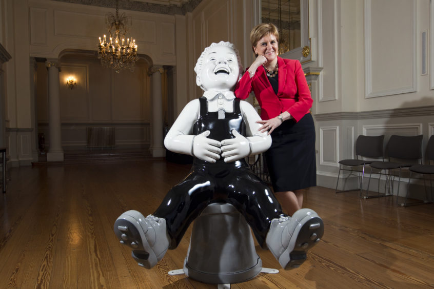 Oor Wullie with special guest First Minister, Nicola Sturgeon.