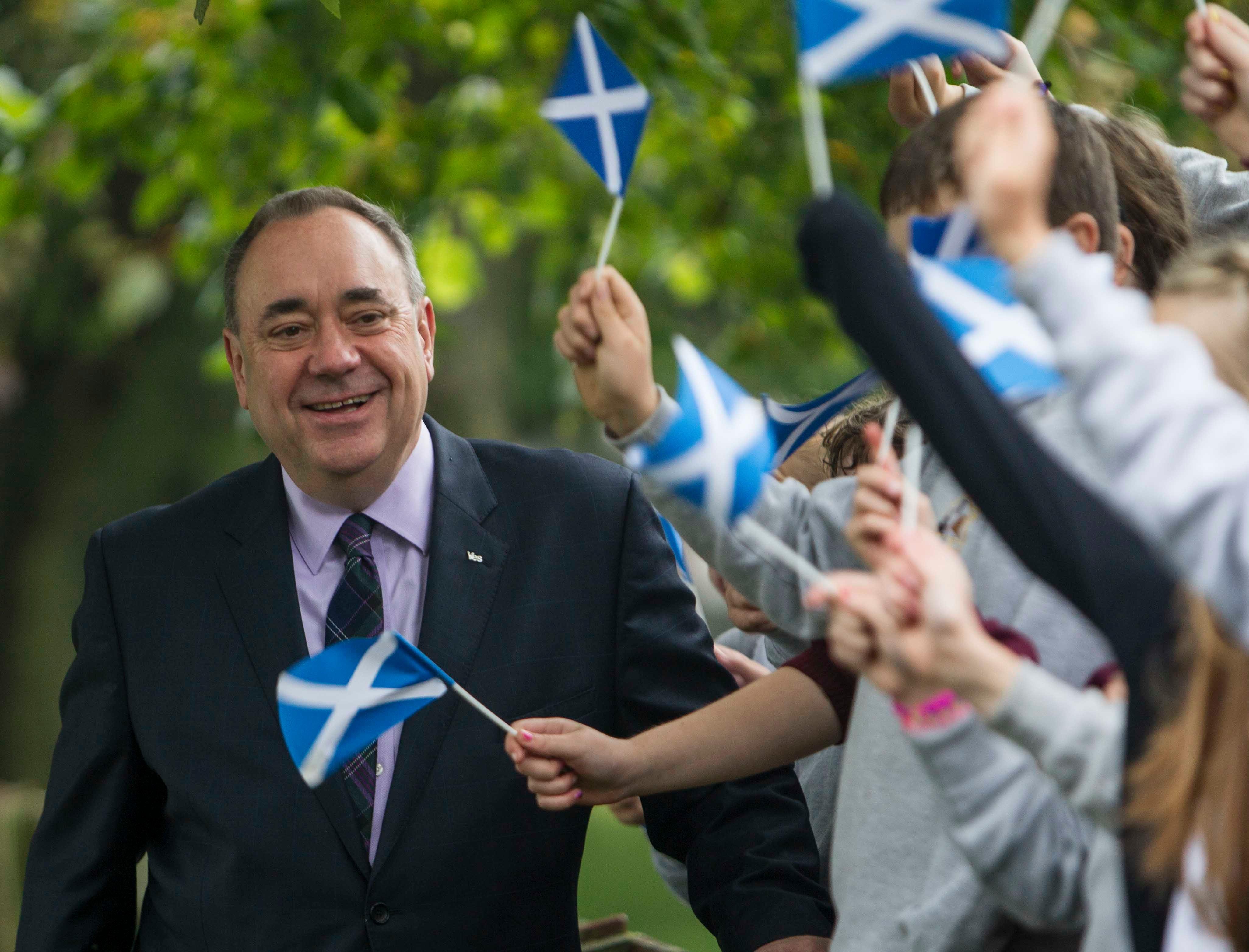 Alex Salmond casts his ballot in Scotland's independence referendum at Ritchie Hall, Strichen.
