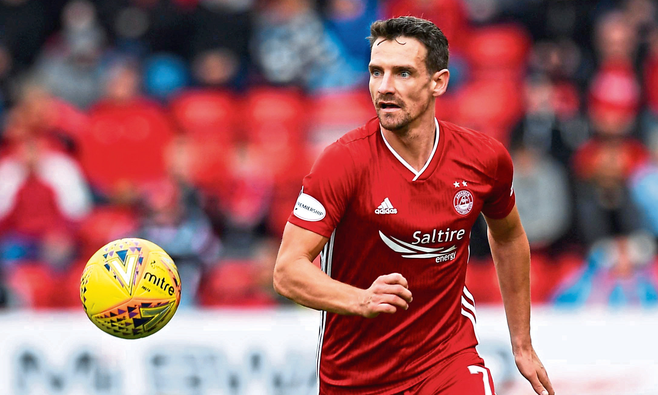 Aberdeen's Craig Bryson in action during the Ladbrokes Premiership match between Aberdeen and Ross County at Pittodrie Stadium on August 31, 2019,