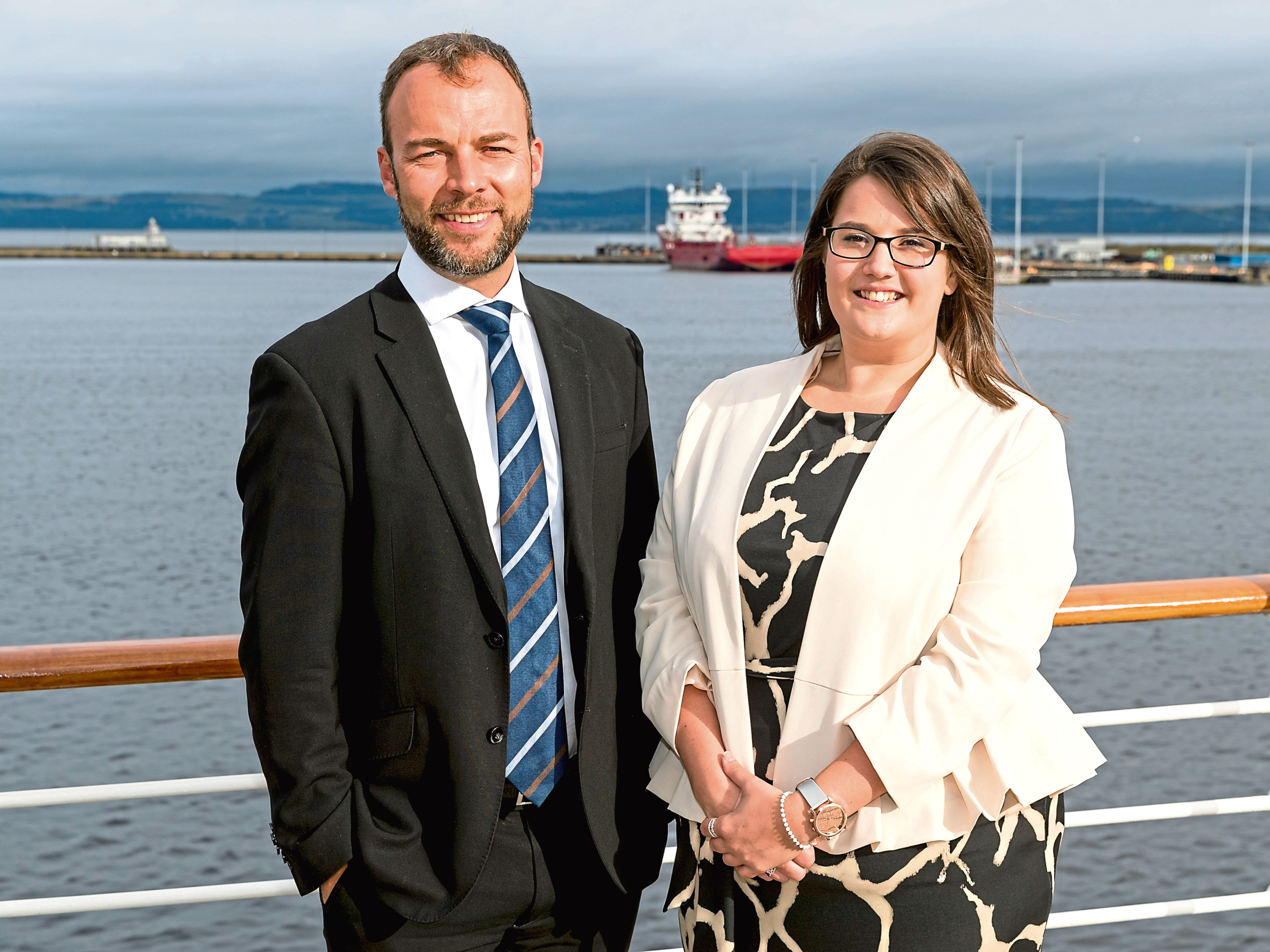 Maggie Nicoll with Brodies' Aberdeen shipping partner, Malcolm Mackay.