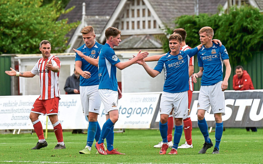 Glenavon's second goal scored by Rhys Marshall.  Picture by HEATHER FOWLIE