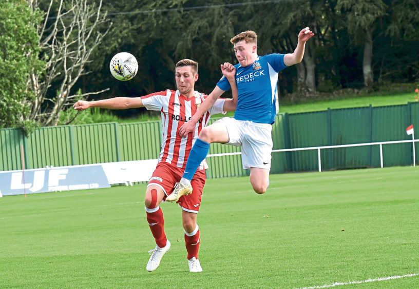 Formartine's Michael Clark and Glenavon's Jack O'Mahony.  Picture by HEATHER FOWLIE