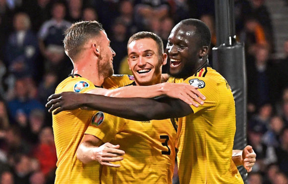 Thomas Vermaelen celebrates his first goal during a UEFA Euro 2020 qualifier between Scotland and Belgium,