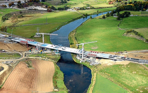 AWPR: The bridge at Dyce over the River Don which is still under construction.