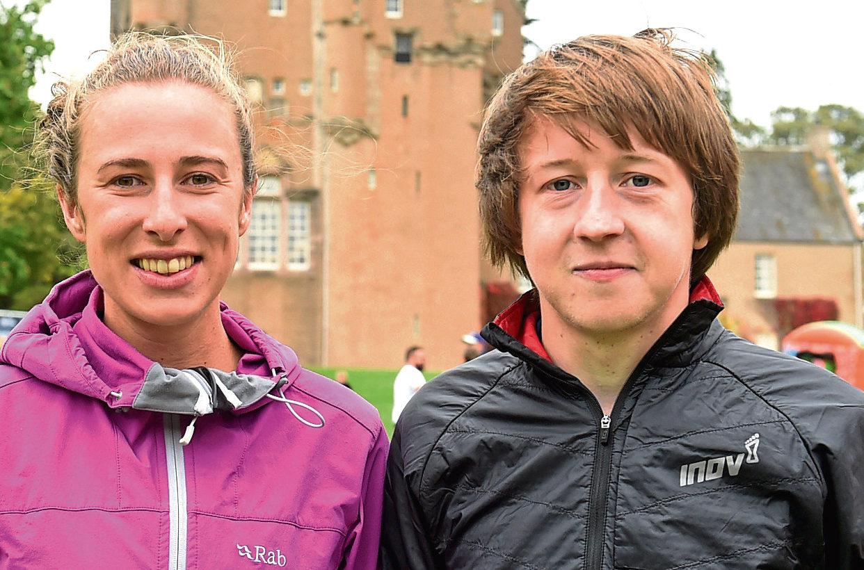 Half marathon winners, Kerry Price and Jason Kelly.  Picture by Jim Irvine