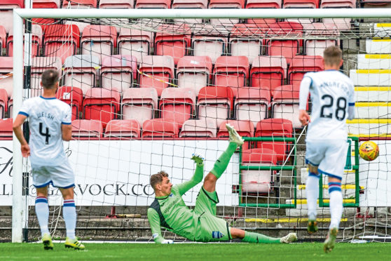 Caley thistle's sean Welsh scores the only goal of the game at east end park to make it an away win