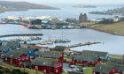 Locator of Scalloway harbour and castle, Shetland.