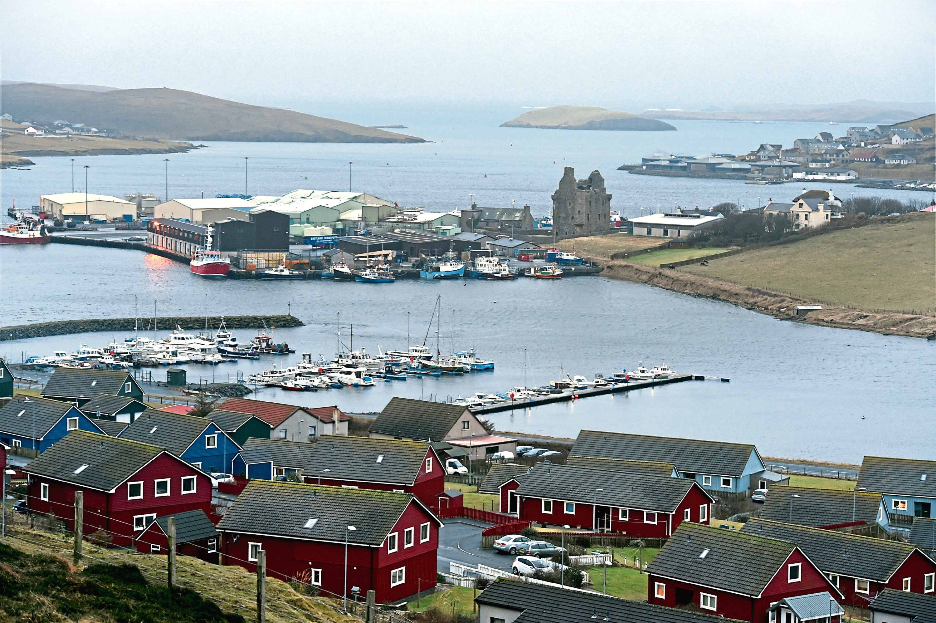 Locator of Scalloway harbour and castle, Shetland.   Picture by Jim Irvine  24-1-16