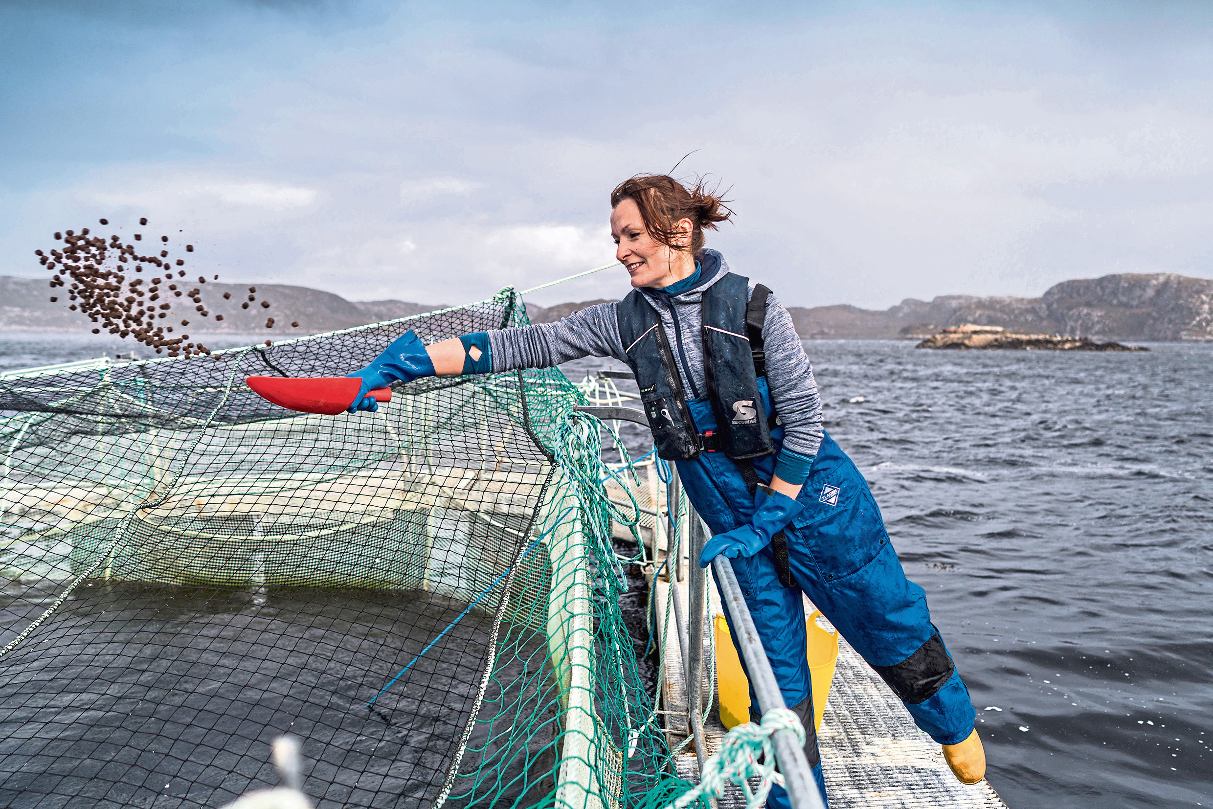 Hand feeding at Loch Duart, the respected salmon farming company which is committed to investing in its local community