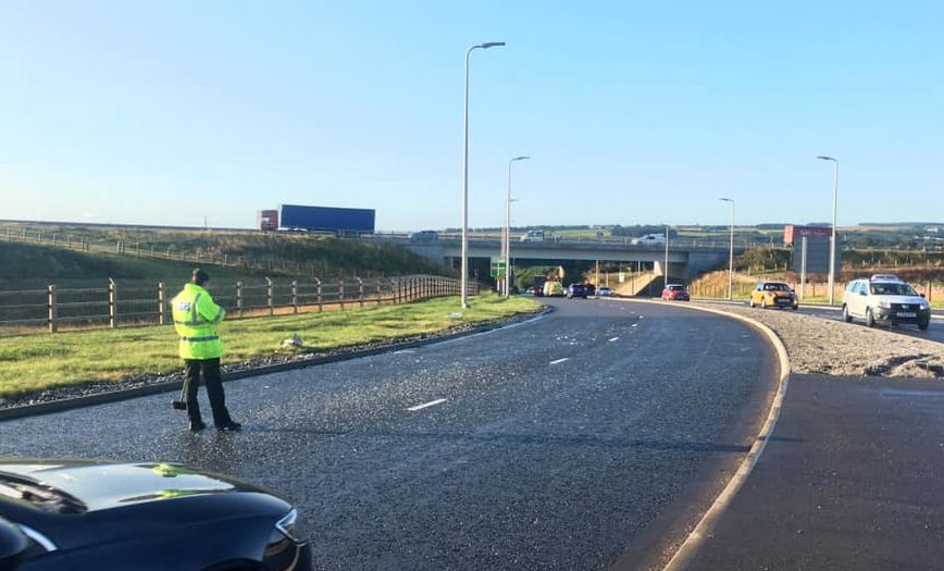 Police swept thousands of nails from the A90 during yesterdays morning rush hour. Pic: GFP Media