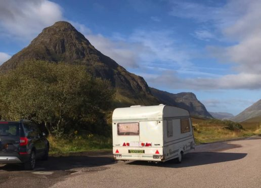 A caravan has been dumped in Glencoe.