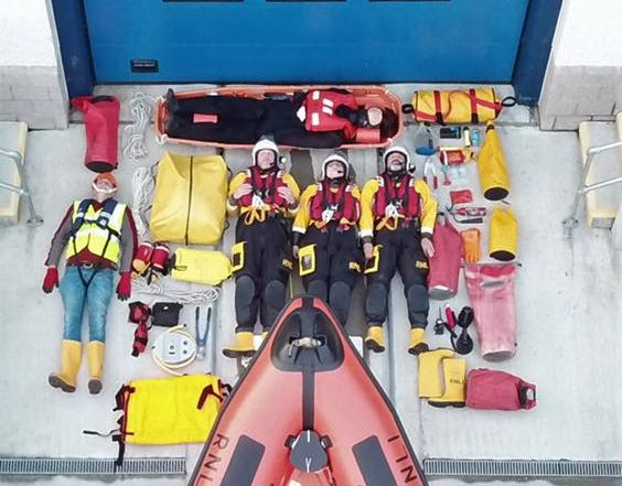 The RNLI crew at the Loch Ness station have laid bare all their kit as part of the Tetris challenge