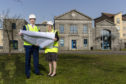 ABERDEEN, SCOTLAND - APRIL 23, 2019:  Aberdeen Science Centre is poised to receive a £4.7 million revamp. Gavin Currie, Managing Director Bancon Contruction with Liz Hodge, CEO Aberdeen Science Centre  (Photo by Ross Johnston/Newsline Media)