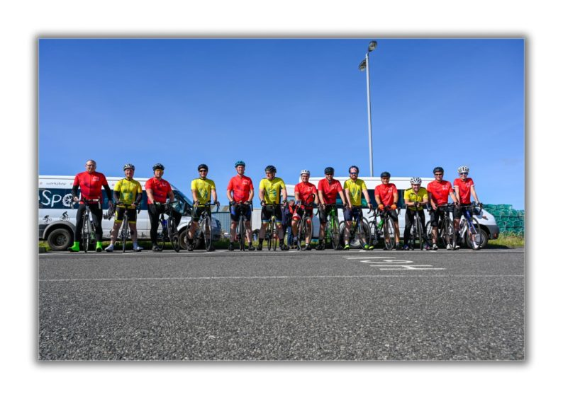 In total 13 covered the full 100-mile distance, with friends assisting along the way to motivate the team and by taking on part of the journey