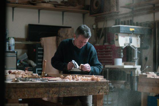Artist in wood, Duke Christie