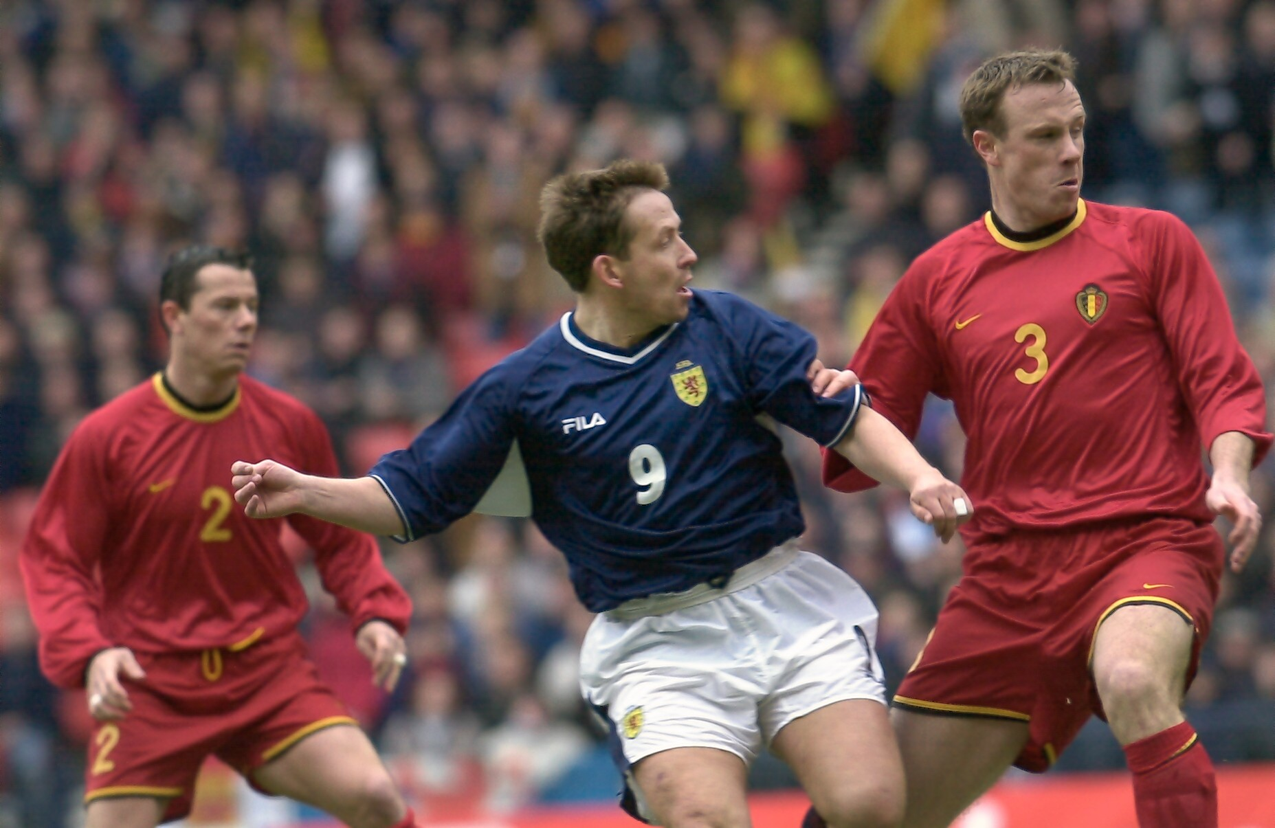 Billy Dodds in action against Belgium