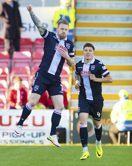 Ladbrokes Championship Ross County v Hamilton.   Ross County's Michael Gardyne (left) celebrates after giving his side an early lead