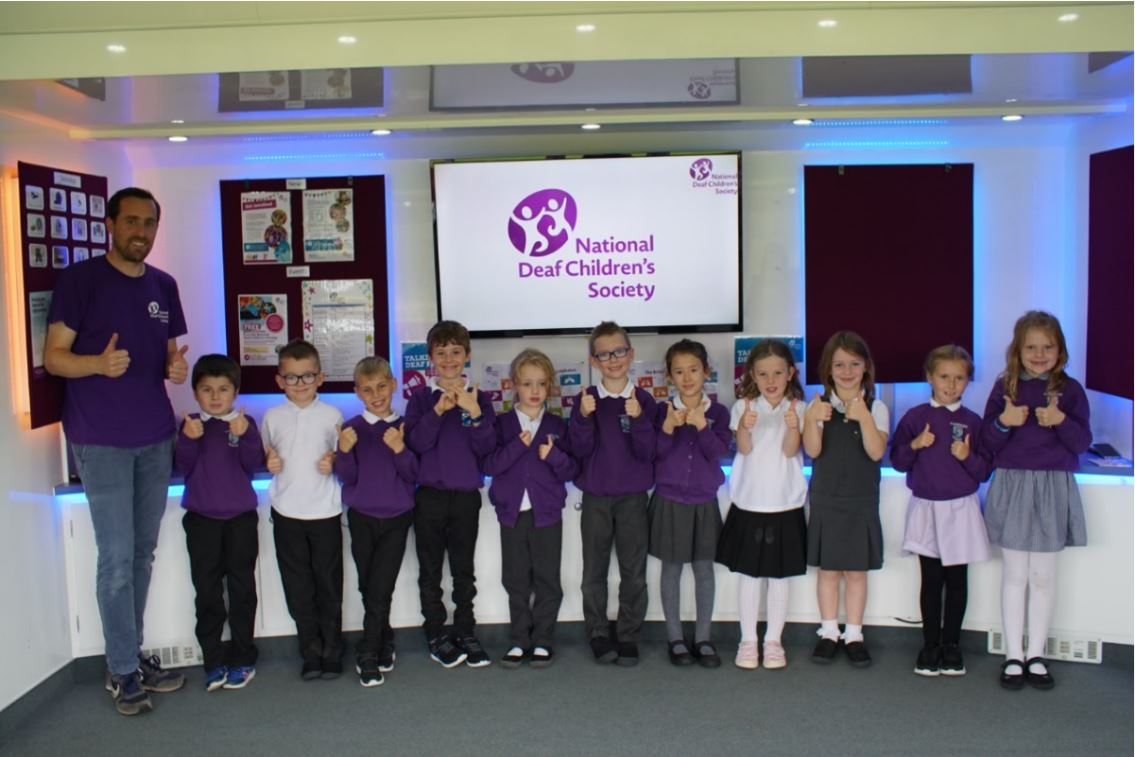Primary pupils taking part in the roadshow.