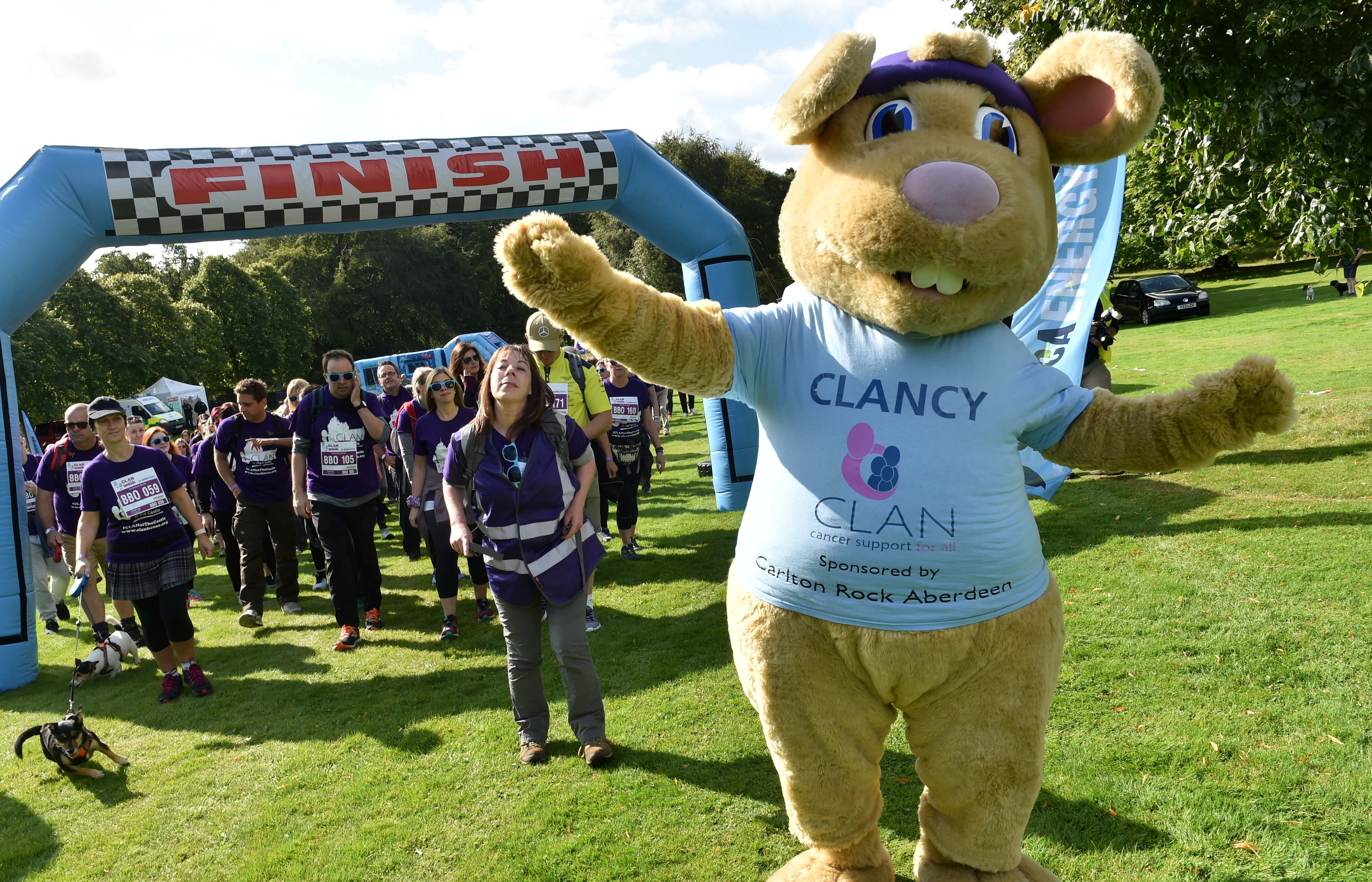 Warming up with Clan mascot Clancy the rabbit. Picture by Colin Rennie