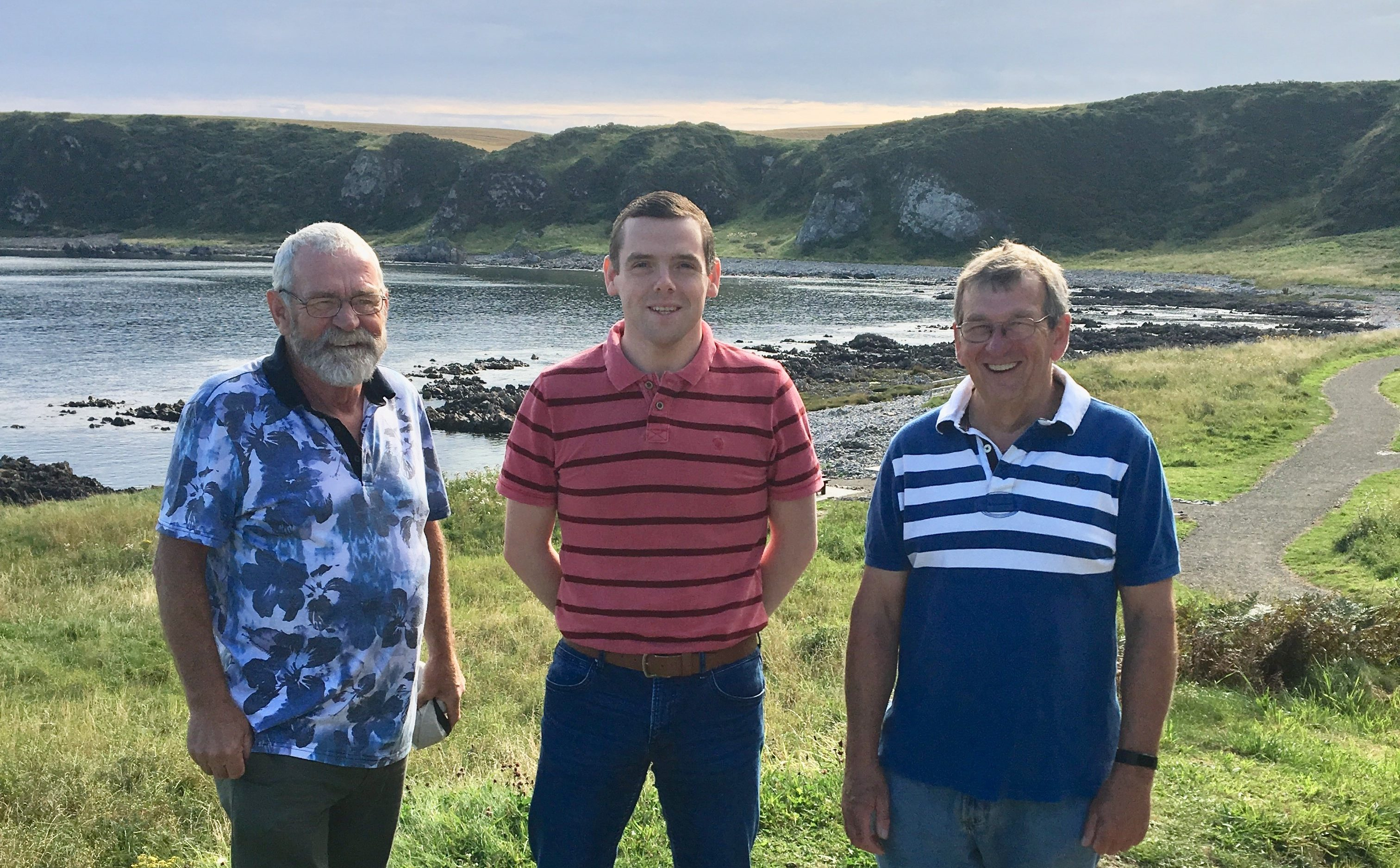 Alex Donn, Douglas Ross and Stan Slater on the Cullen coastal path.