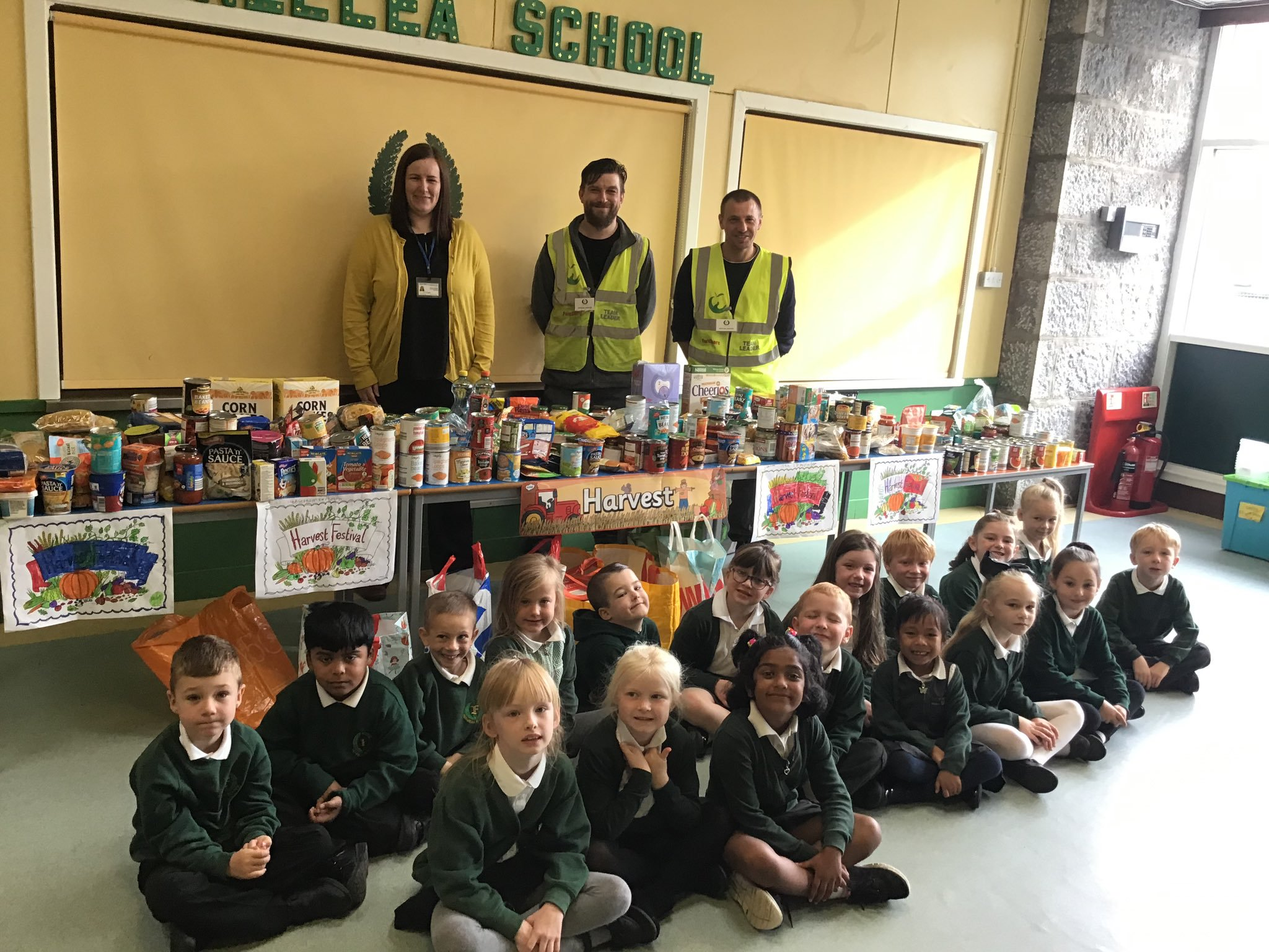 Primary two class and their donations.