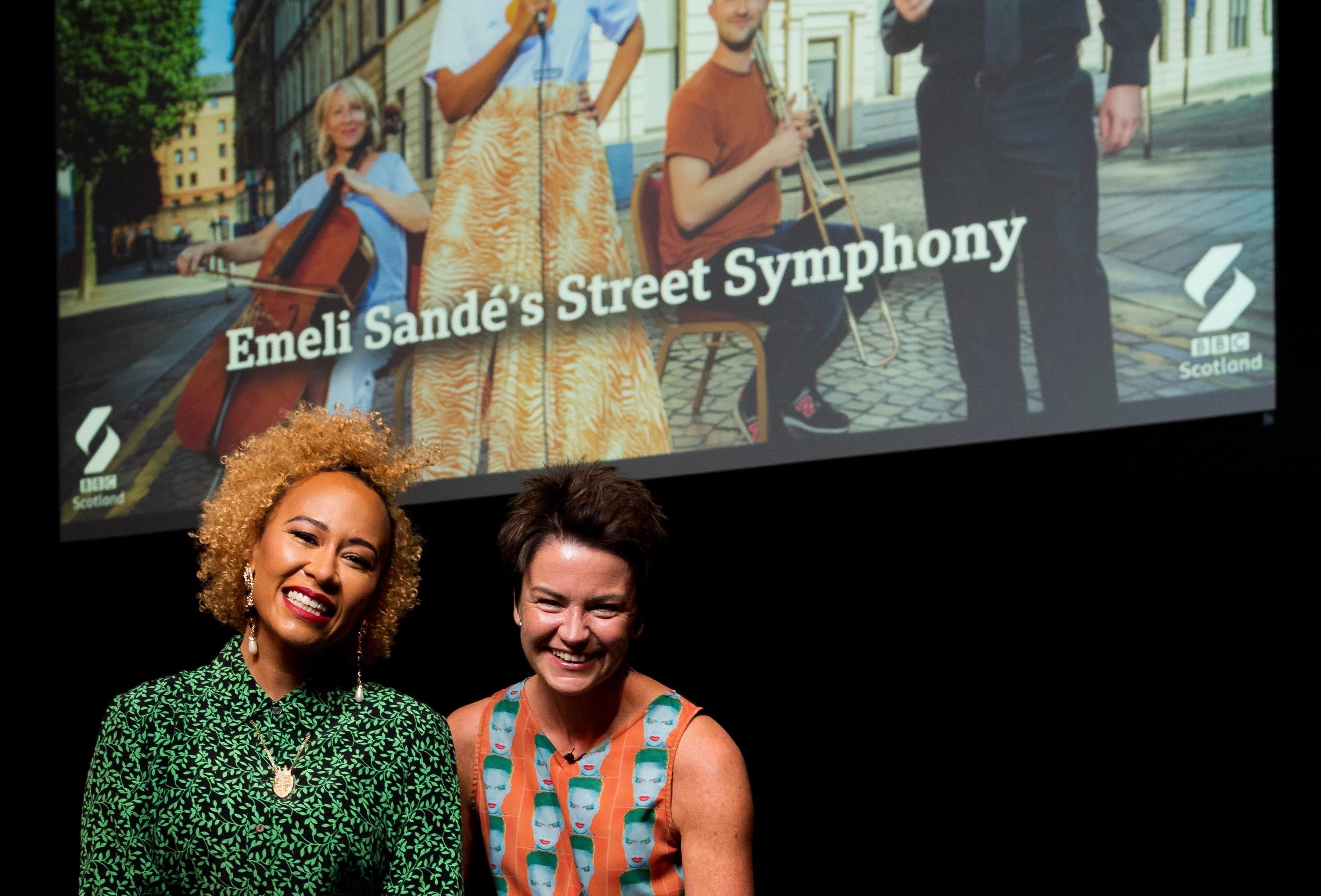 Emeli Sandé with BBC Scotland's Fiona Stalker who led the singer in conversation after a screening of her new programme, Emeli Sandé's Street Symphony at the Lemon Tree in Aberdeen.