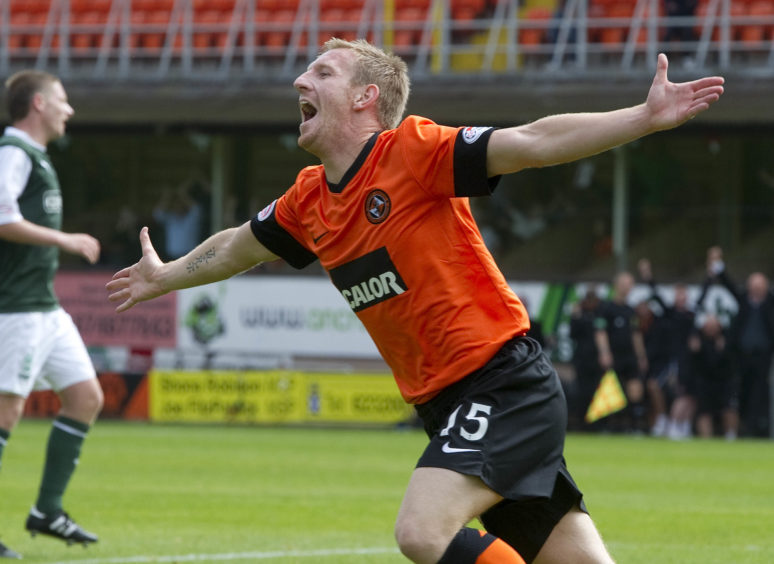 Clydesdale Bank Premier League Dundee United v Hibernian  Michael Gardyne shows his delight after giving Dundee Utd a 3-0 lead.