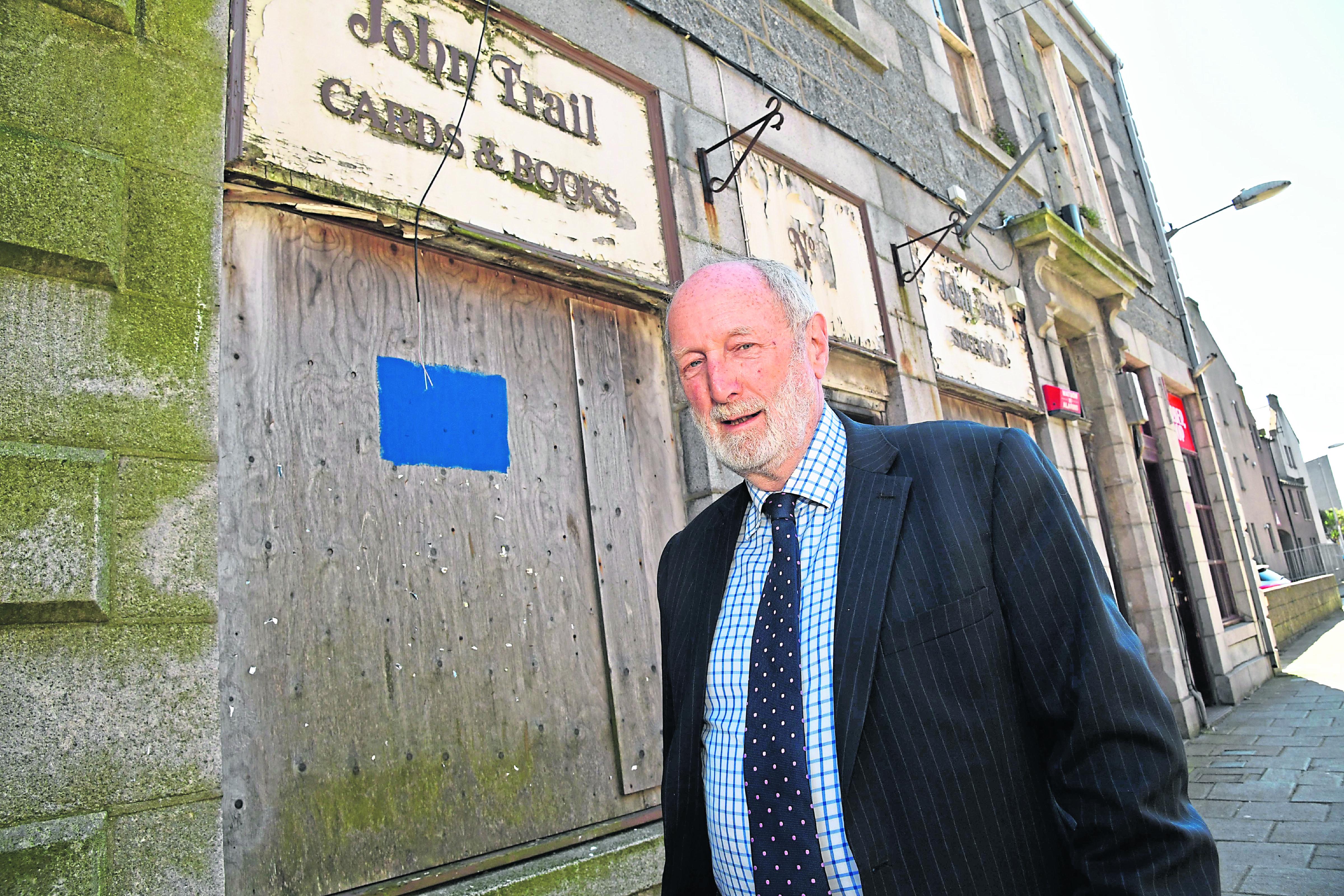 Councillor Charles Buchan at the former John Trail bookshop in Fraserburgh.
