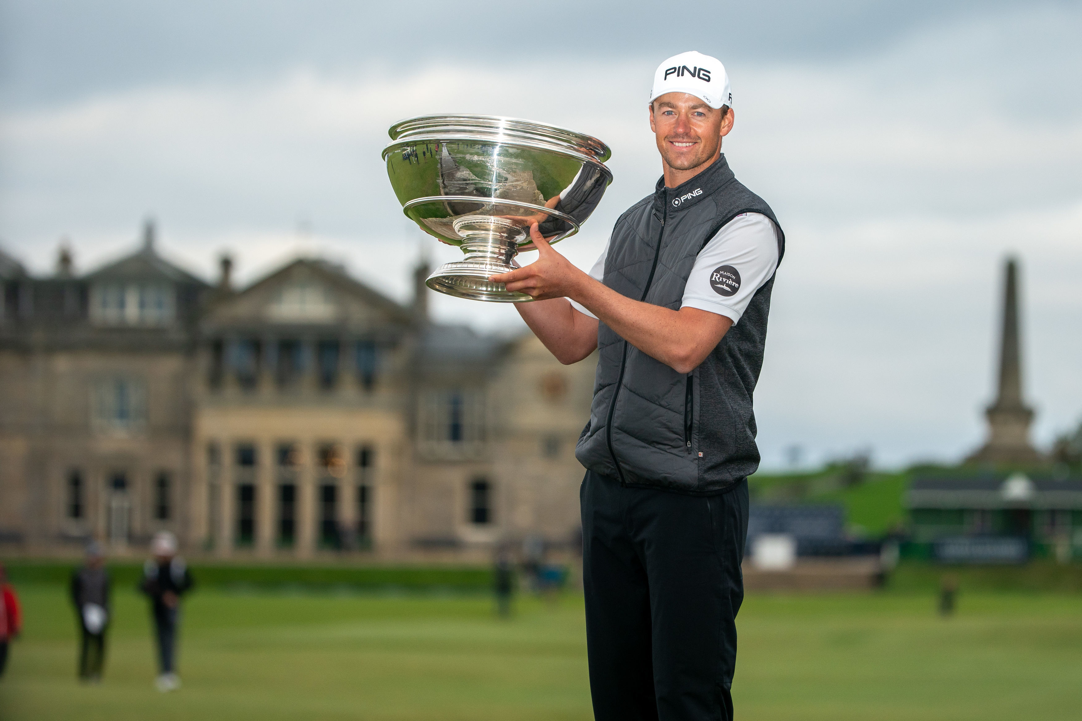 Victor Perez proudly shows off the trophy following his win during day four of the Alfred Dunhill Links Championship at St Andrews. PA Photo.