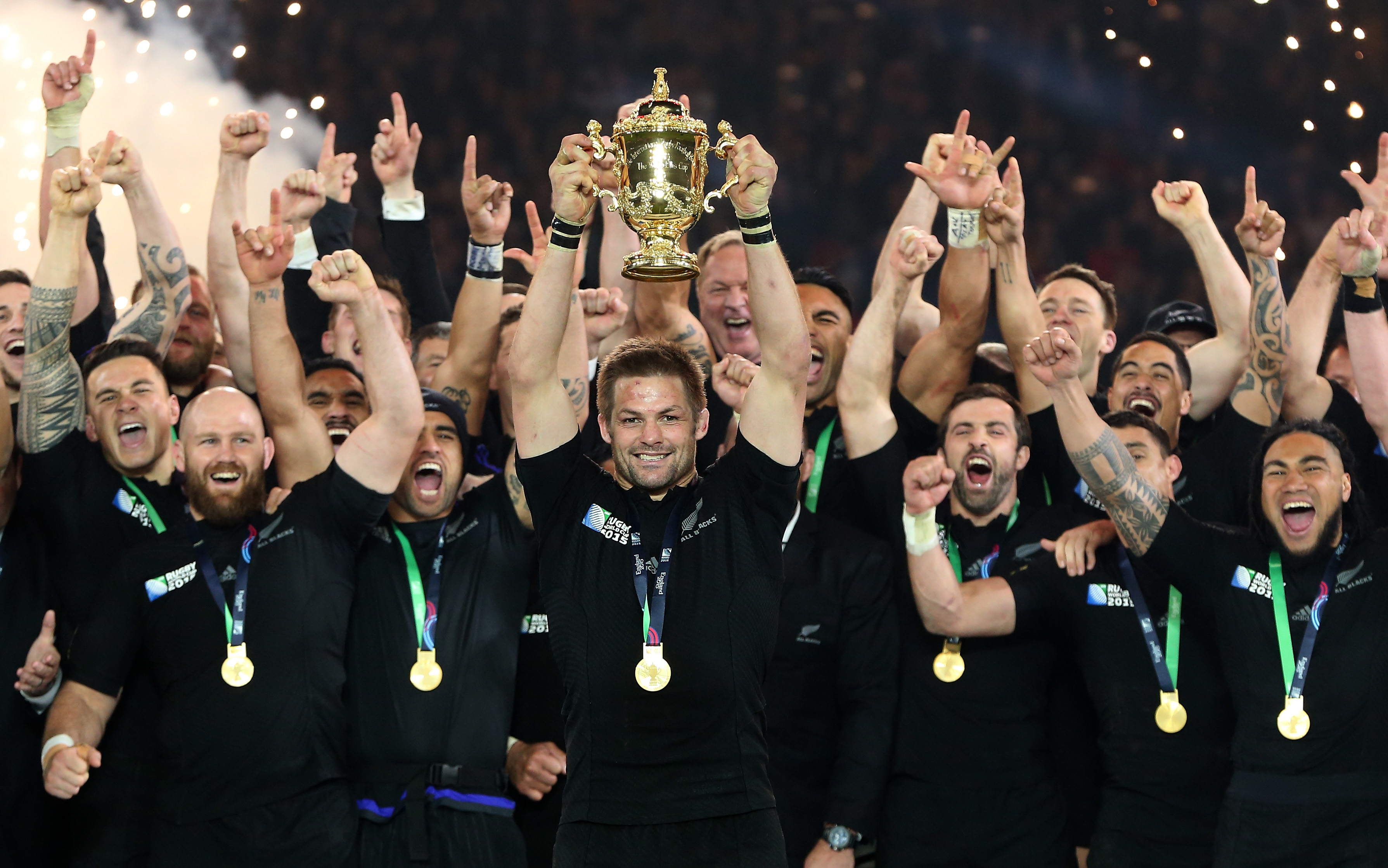 Richie McCaw of New Zealand lifts the Webb Ellis Cup following victory in the 2015 Rugby World Cup Final match between New Zealand and Australia at Twickenham.