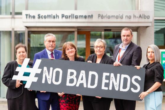 Pictured Jackie Baillie, Iain Gray, Maree Todd, SallyAnn Kelly, CEO, Aberlour, Neil Findlay and Gail Ross