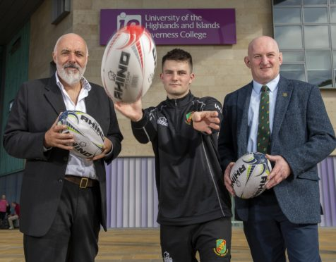 Professor Chris O'Neil, principal and chief executive of Inverness College UHI, with HND Coaching and Developing Sport student William Moncrieff, who plays for Highland, and Graham Findlater, President of Highland Rugby