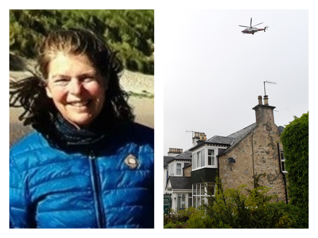 Jacqueline Ullmer, left, and the coastguard helicopter