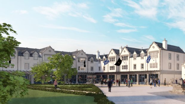 Artist's impression of MacLeod Square at the Trump Estate in Balmedie