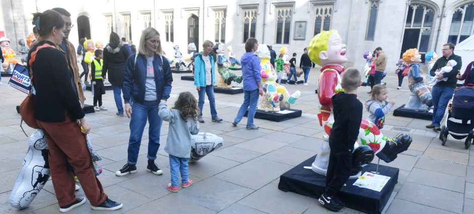 Picture from the public viewing of the Oor Wullie statues at Marischal College, Aberdeen.  Picture by Chris Sumner