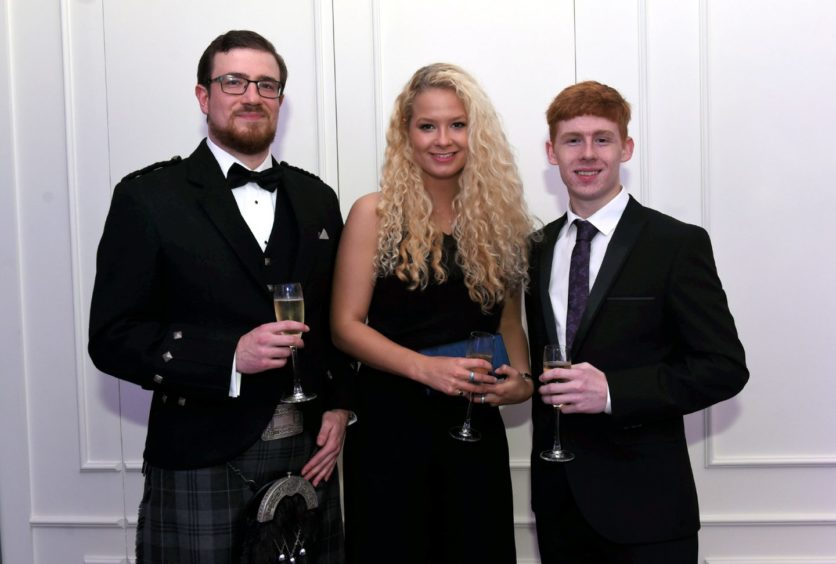 Pictured from left, Elliot Ewen, Heather Buchan and Ross Mitchell.  Picture by HEATHER FOWLIE