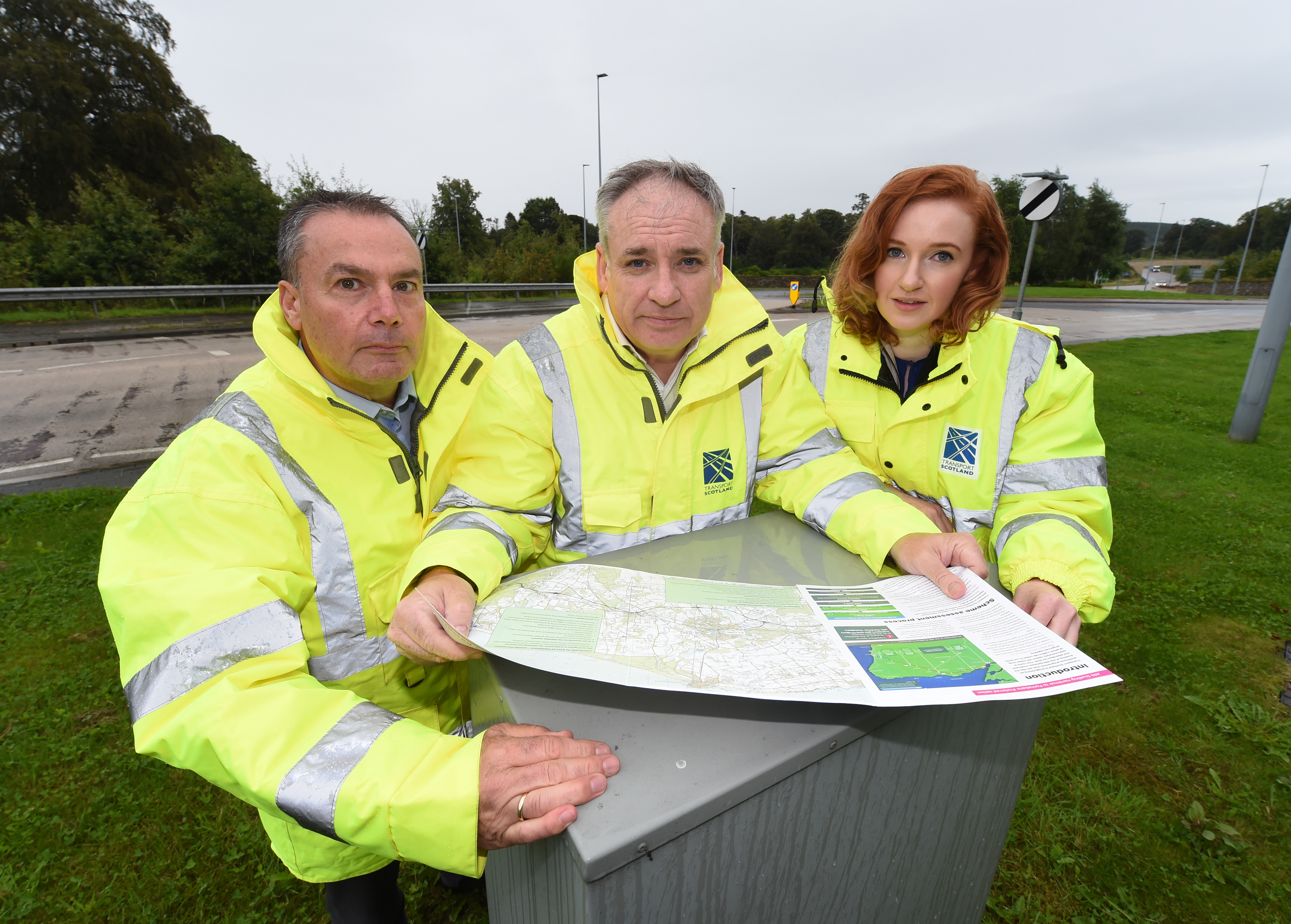 The upgraded A96 is expected to be completed by 2030. Pictured: Mott MacDonald Sweco's contract director Iain Scott, Moray MSP Richard Lochhead and Transport Scotland project manager Niamh Callaghan.