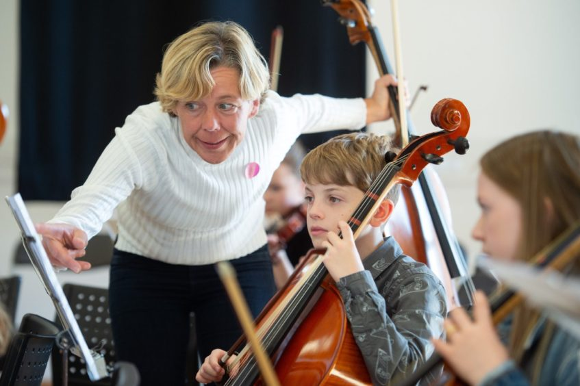 Scottish Symphony Orchestra's Anne Brincourt provides expert tuition Pictures by JASON HEDGES