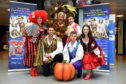Picture of Cast (L-R) - Joy McAvoy (one of the Wicked Step-sisters), Paul Luebke (Prince Charming), Alan McHugh (The Baroness), Louie Spence (Dandini), Paul-James Corrigan (Buttons), Rachel Flynn (Cinderella).  Picture by KENNY ELRICK