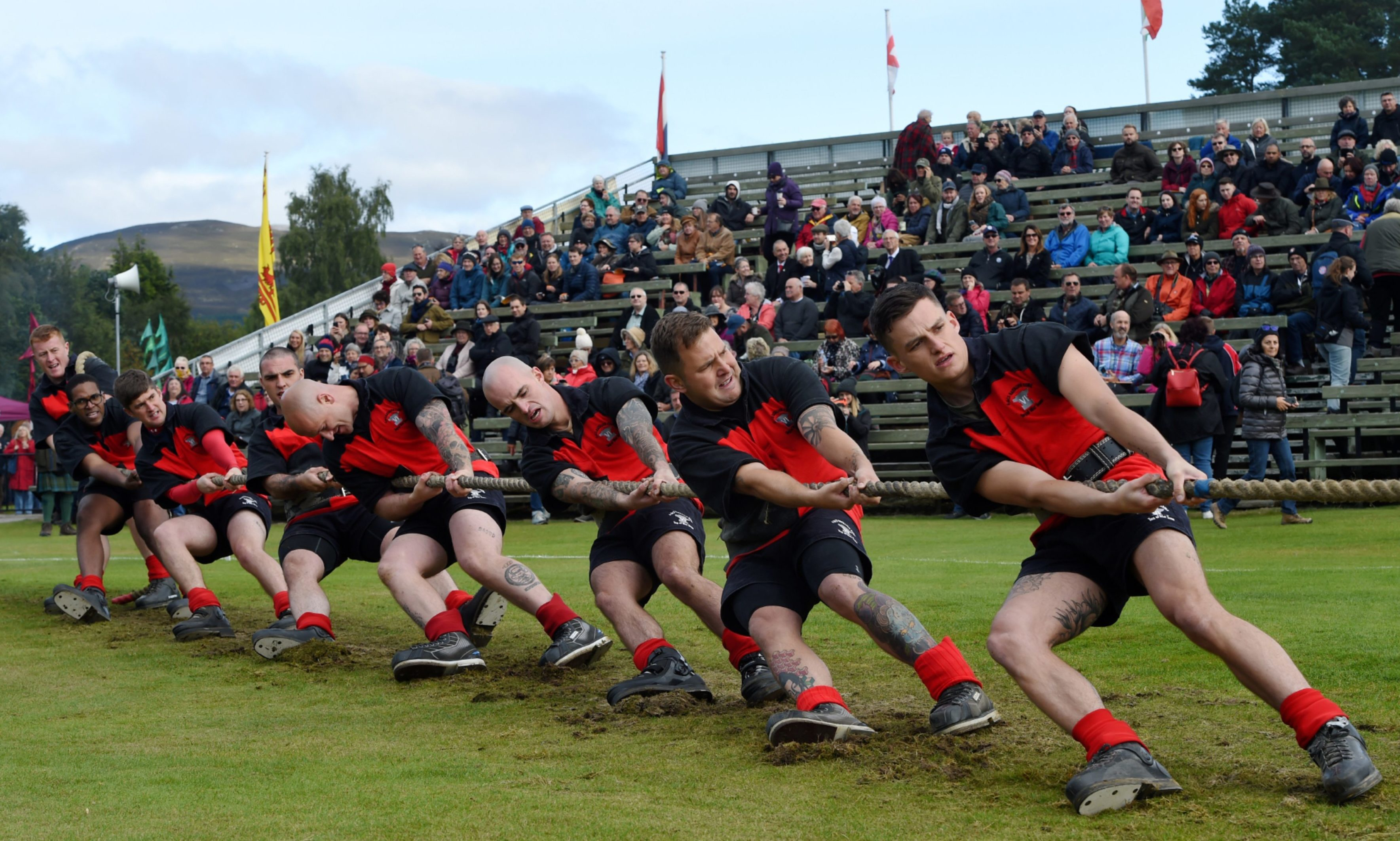 Braemar Royal Highland Gathering 2019, at The Princess Royal and Duke of Fife Memorial Park in Braemar. Picture of the 6th Battalion Reme during the Tug o war. Picture by Kenny Elrick
