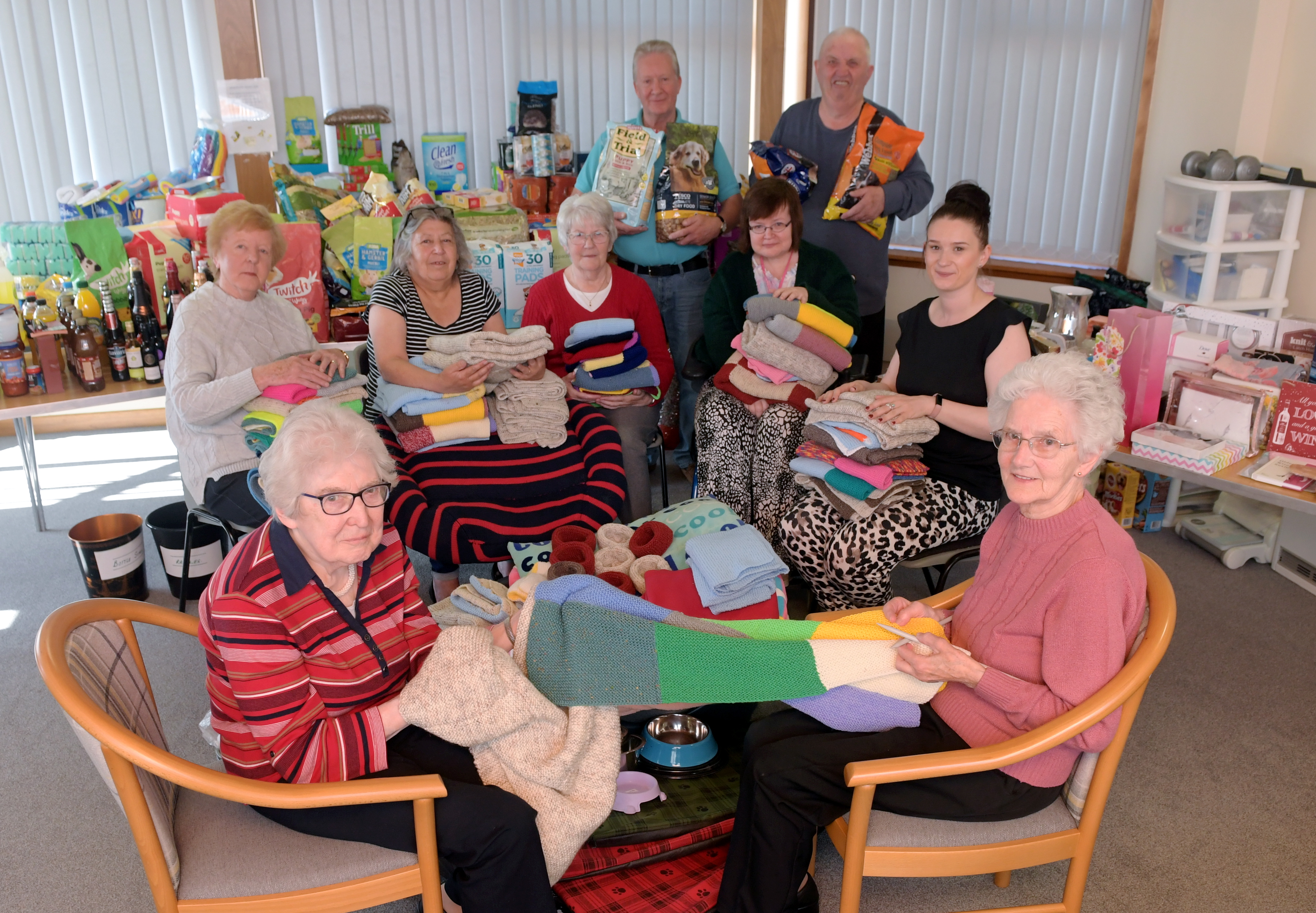 L-R: Margaret Kerr and Margaret Bremner, with  Peggy Dinverno, Chris Duguid, Alice Cunningham, Kenny Wallace, Joan Watson, Kenny Johnston and Sheltered Housing Officer Rosa-Lynn Bruce.