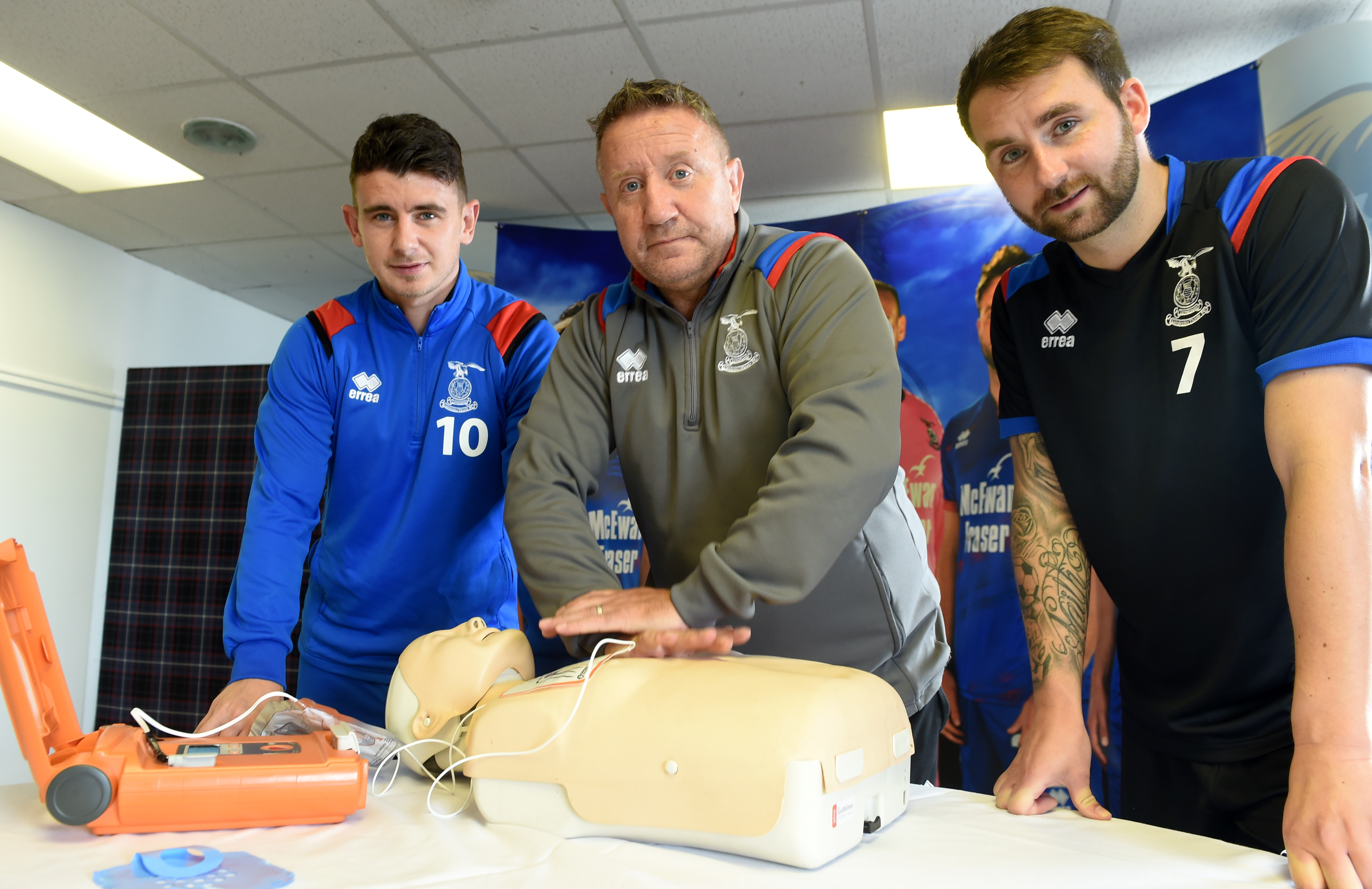 All staff and players of Inverness Caledonian Thistle are undergoing training in the use of defibrillators. Manager John Robertson explains the procedure to players Aaron Dorran and James Keetings. Picture by Sandy McCook